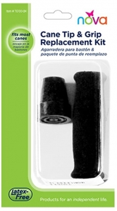 NOVA Medical Products Cane Tip And Grip Replacement, Black