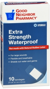 "GNP First Aid Extra Strength Waterproof Bandage, 2"" x 4"", 10ct"