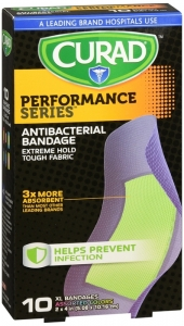 Curad Performance Series Antibacterial Bandages, Extra Large, 10 count