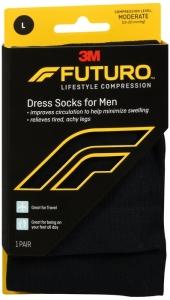 Futuro Revitalizing Dress Socks for Men, 15-20mmHG , Black, Large - 1 Pair