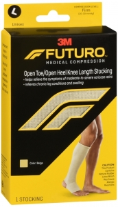 Futuro Therapeutic Stocking for Men & Women, Open Toe/heel Beige, Firm Compression, Size Large