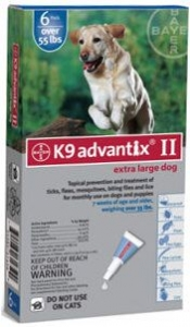 Advantix II K-9  (For Extra Large Dogs, Over 55 lbs) - 6 Pack (Blue)