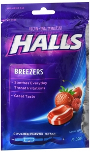 Halls Breezers Pectin Throat Drops Cool Berry 25 Drops