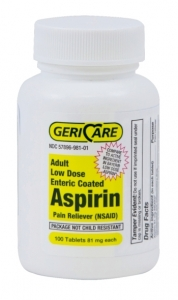 GeriCare Enteric Coated Aspirin Tablets, 81mg, 100ct
