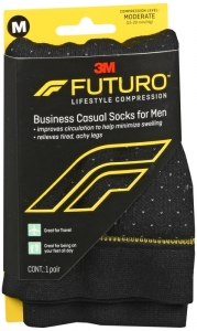Futuro Business Casual Socks for Men, 15-20mmHG , Pin Dot, Medium - 1 Pair