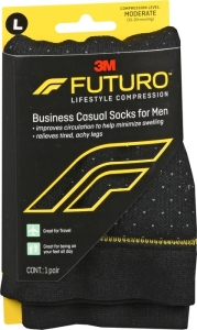 Futuro Business Casual Socks for Men, 15-20mmHG , Pin Dot, Large- 1 Pair
