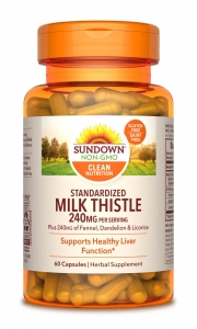 Sundown Naturals Milk Thistle XTRA Herbal Supplement 240mg Capsules- 60ct