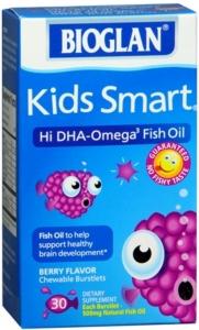 BioGlan Kids Smart Hi DHA Omega-3 Fish Oil 500 mg Chewable Burstlets Berry - 30ct