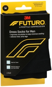 Futuro Revitalizing Dress Socks for Men, 15-20mmHG , Black, Medium - 1 Pair