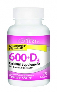 21st Century 600mg+D3 Calcium Supplement Tablets 75ct
