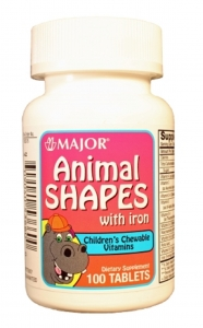 Major Animal Shapes Multivitamins with Iron Chewable Tablets 100ct