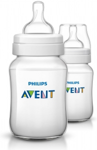 Philips AVENT Anti-colic Bottle with Insert 9oz - 2 Clear Bottles ** Extended Lead Time **