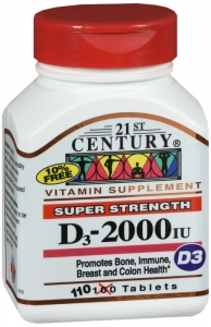 21st Century Vitamin D-2000 Maximum Strength D3 Tablet - 110ct