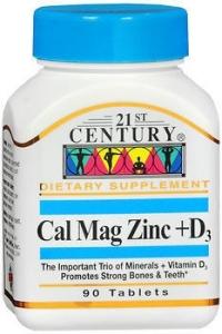 21st Century Cal Mag Zinc +D Tablets, 90 Count