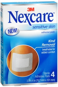 "Nexcare Sensitive Skin Adhesive Pads, 3"" x 4"" - 4ct"