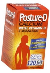 Posture-D Calcium (600mg) with Vitamin D & Magnesium - 120 Caplet Bottle