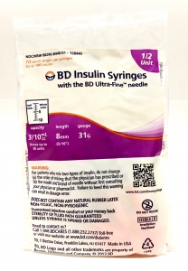 "BD Ultra-Fine II Insulin Syringe  31 Gauge,  3/10cc, 5/16"" Needle (1/2 unit Markings) - 10 Count"
