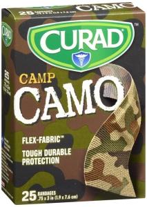 Curad Adhesive Bandages, Camp Camo, Brown, 25 ct