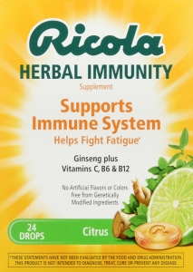 Ricola Herbal Immunity Supplement Drops Citrus - 24 ct
