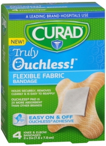 Curad Ouchless Flexible Fabric Knee and Elbow Bandages 3in x 3in - 4ct
