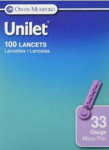 Unilet Lancets Micro Thin 33G-100ct