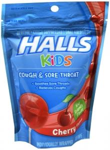 Halls Kids Cough Plus Sore Throat Pops 10 ct Cherry