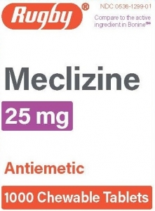 Meclizine HCL 25mg Chew Tablets- 100ct