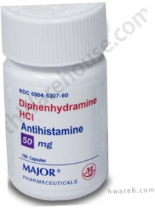 Diphenhydramine 50mg Capsules - 100 Count Bottle