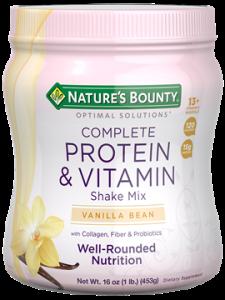 Nature's Bounty Optimal Solutions Complete Protein & Vitamin Shake Mix, Vanilla 16oz