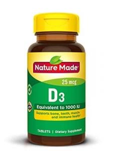 Nature Made Vitamin D3 25 mcg (1000 IU) Tablets 100ct