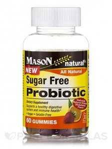 Mason Natural - Probiotic Sugar Free Gummies Orange Strawberry - 60 Gummies