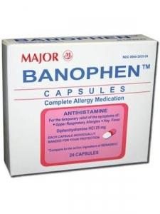 Banophen Antihistamine Capsules, 25mg- 24 ct (Major)