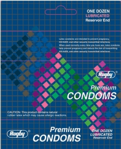 Rugby Premium Lubricated Condoms with Reservoir End 12ct