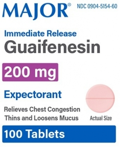 Major Mucus Relief Guaifenesin Tablets, 200mg, 100ct