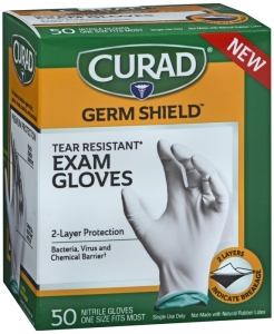 Curad Germ Shield Nitrile Exam Gloves, One Size Fits Most 50ct