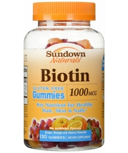 Sundown Naturals Biotin Gummies Dietary Supplement, 1000mcg, 130ct