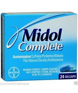 Midol Complete Pain Reliever/Diuretic/Antihistamine Gelcaps - 24ct