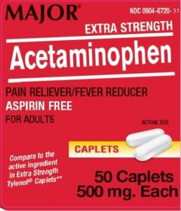 Major Extra Strength Acetaminophen 500 mg Caplets, 50 ct