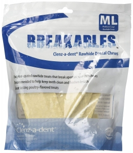 Clenz-a-dent Breakables Rawhide Dental Chews, Medium / Large- 15 Count