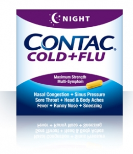 Contac Night Maximum Strength Cold, Flu Relief Caplets - 24ct