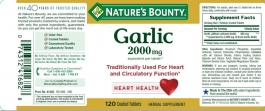 Nature's Bounty Odorless Garlic Softgels, 2000mg- 120ct