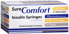 "SureComfort Insulin Syringe 31 Gauge, 1/2cc, 5/16"" Needle - 100 Count"
