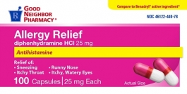 Gnp Allergy Relief Diphenhydramine Hci 25 Mg, 100 Capsules