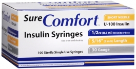 "SureComfort Insulin Syringe 30 Gauge, 1/2 cc, 5/16"" Needle - 100 Count"