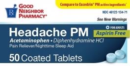 GNP Headache PM Pain Reliever/Sleep Aid Tablets 50ct