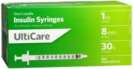 "UltiCare Insulin Syringe, 30 Gauge, 1cc, 5/16"" Needle - 100 Count"