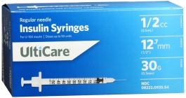 "Ulticare Insulin Syringes 30 Gauge, 1/2cc, 1/2""- 100ct"