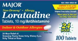 Major Loratadine 10mg Non-Drowsy Allergy Tablets 90