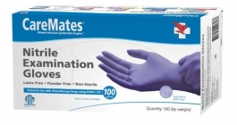 CareMates Nitrile Examination Gloves, Powder Free, Small- 100ct