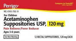 Perrigo Acetaminophen Suppositories (120mg) - 100 Suppositories